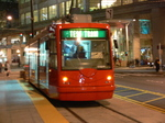 Seattle streetcar - at night at Westlake Hub