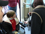 Seattle streetcar - wheelchair passenger.